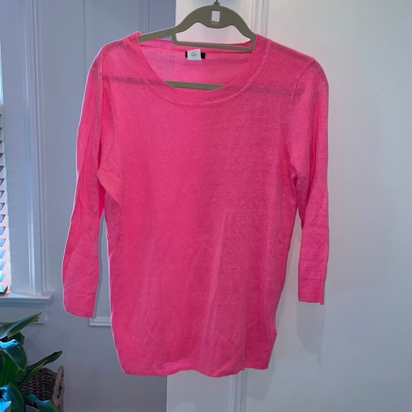 Jcrew hot pink linen sweater